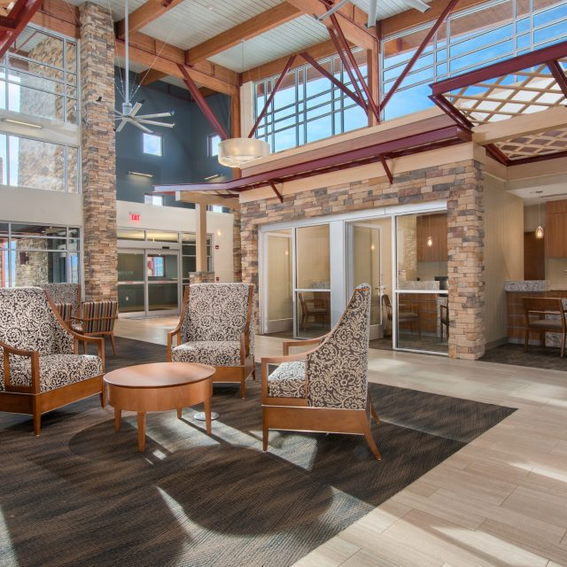 stone accented lobby at Aspen Mountain Medical Center