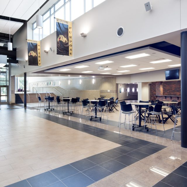 entrance with tables at Bettendorf High School