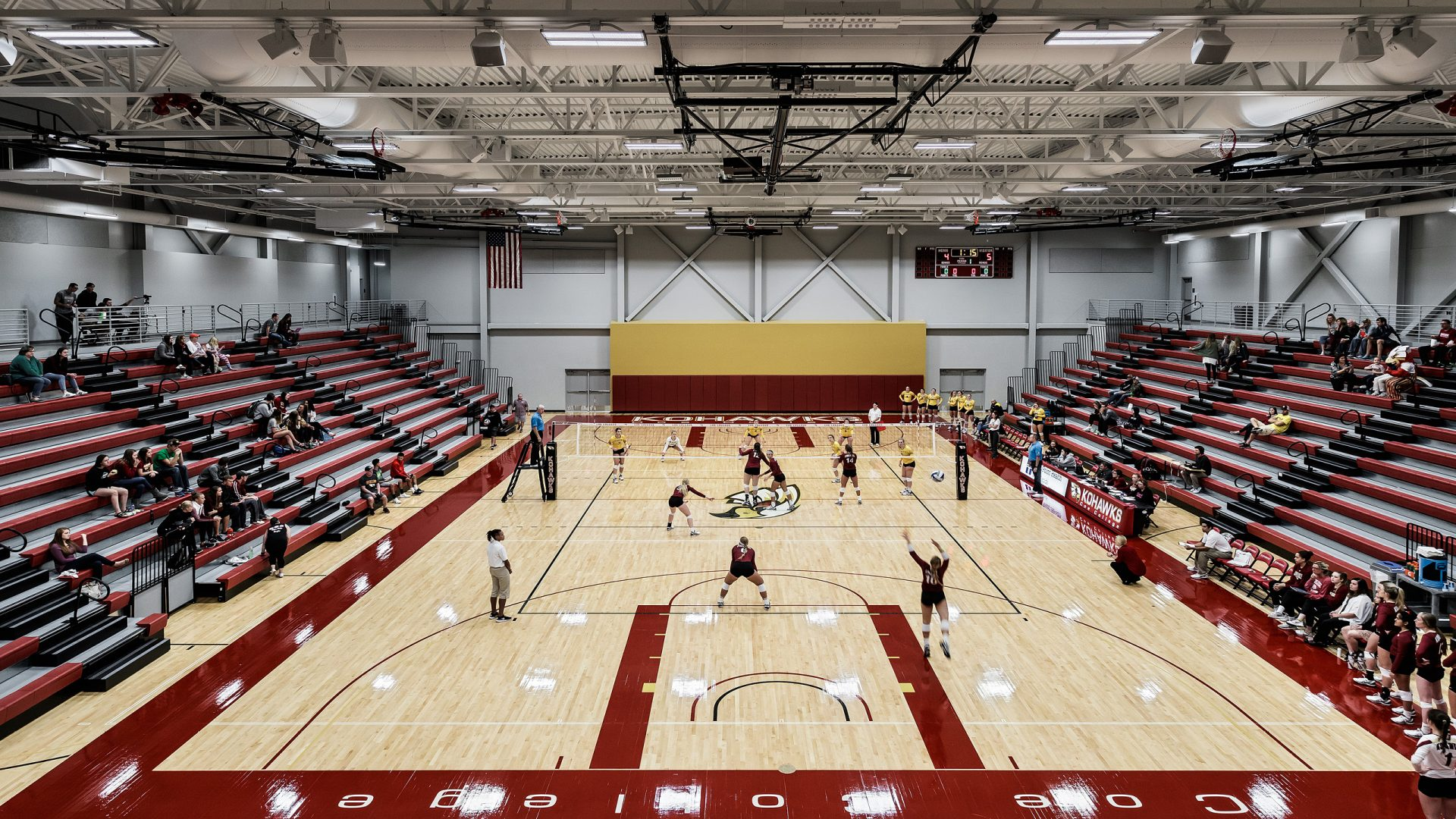 volleyball court during a volleyball game at Coe College's Eby Fieldhouse & Recreation Complex