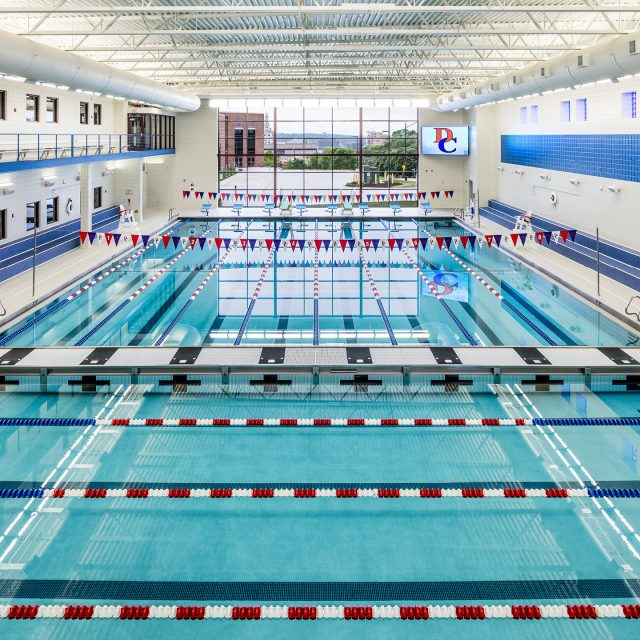 competitive swimming pool at Davenport Central High School