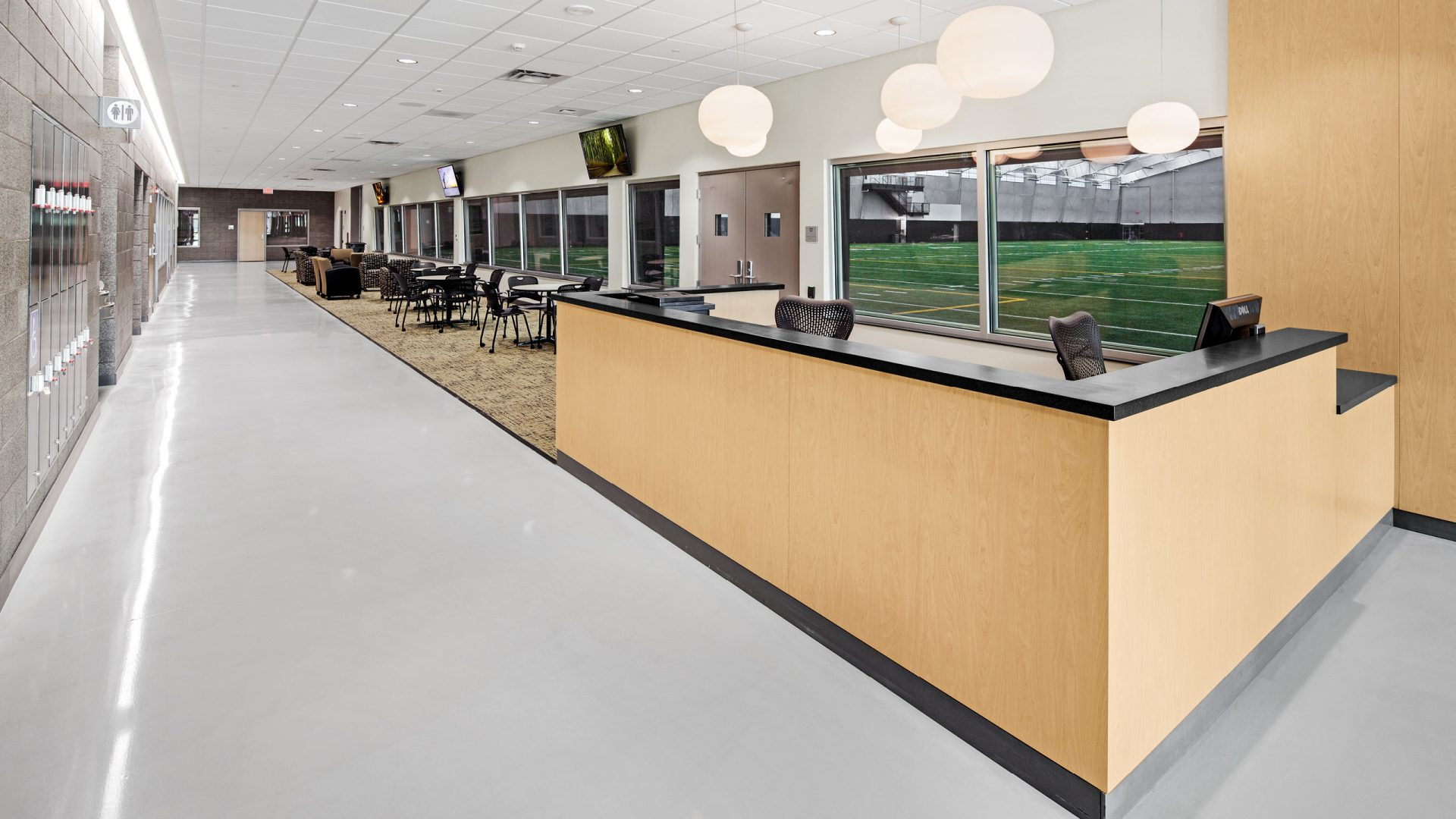 front desk at the University of Iowa's Hawkeye Tennis and Recreation Center