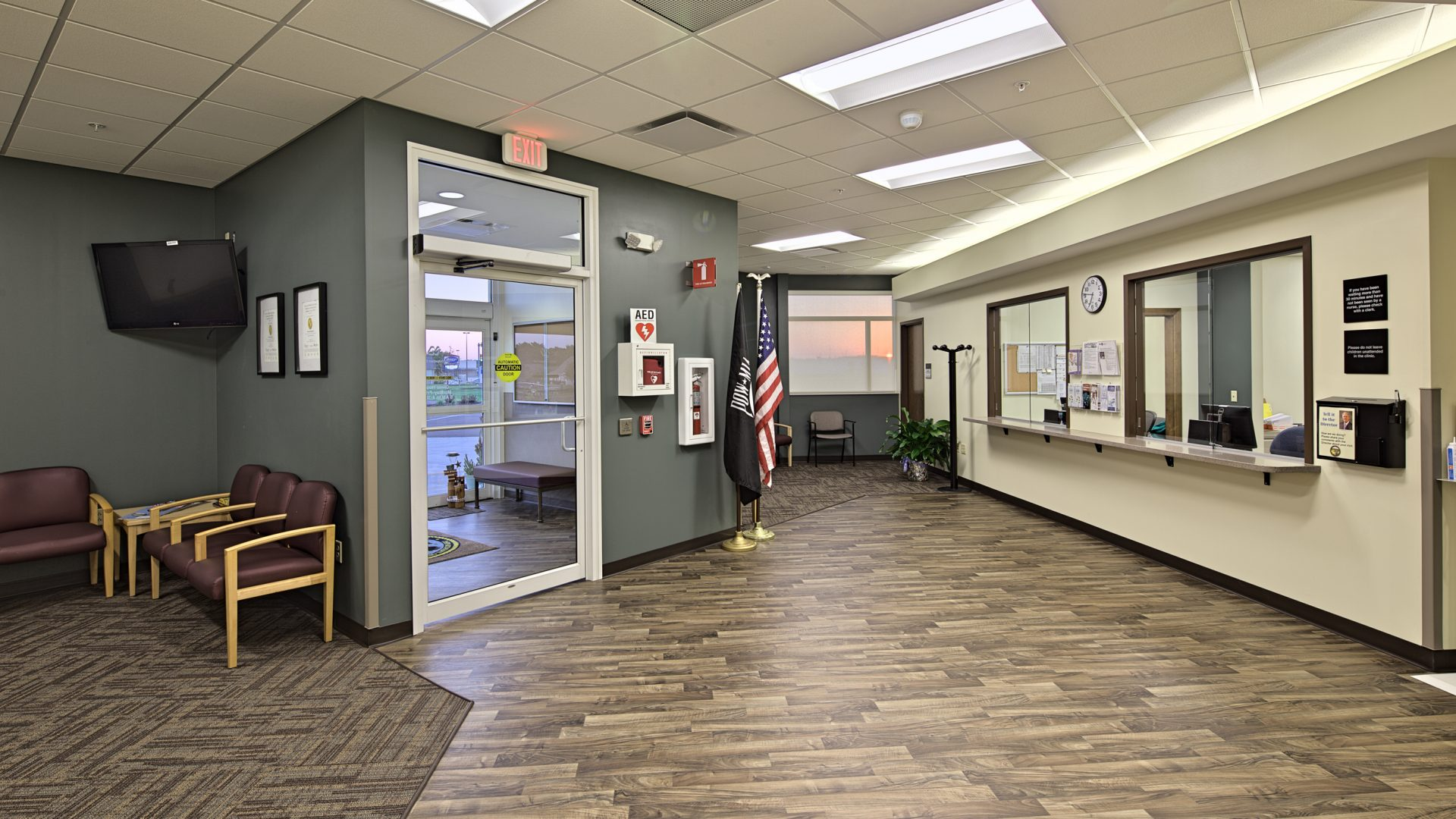 entrance and waiting lobby of the Verterans Affairs Community Outpatient Clinic