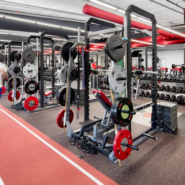 red track and weight area of the North Scott Fitness Center