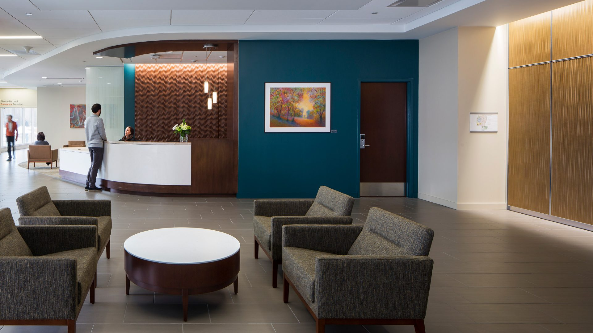 blue and brown lobby at UnityPoint Health - Trinity: Heart Center & Emergency Department
