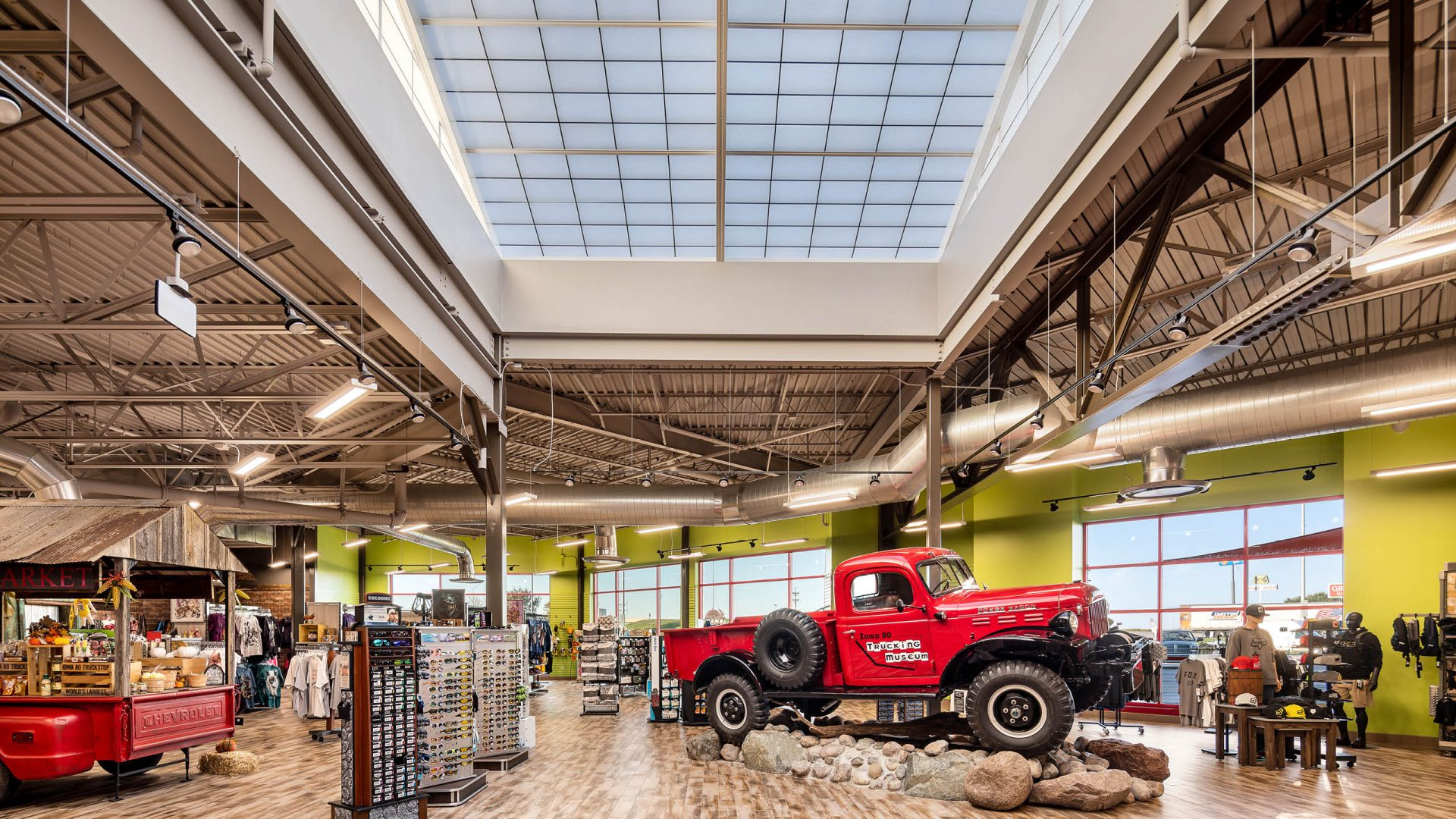Skylight and truck in retail shop