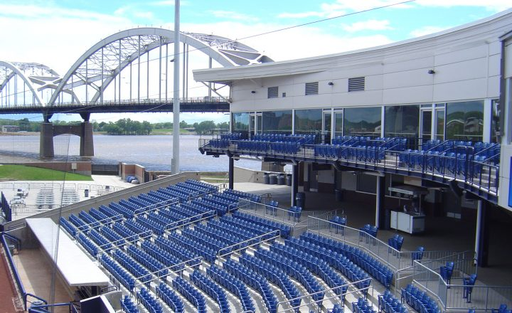 ariel view of the blue stadium seating at Modern Woodmen Park