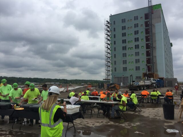 Contractors during appreciation lunch onsite