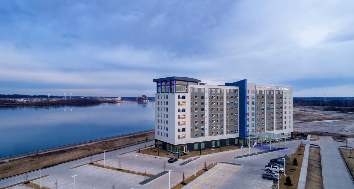 Hyatt Place | Hyatt House Exterior shot with river in the background