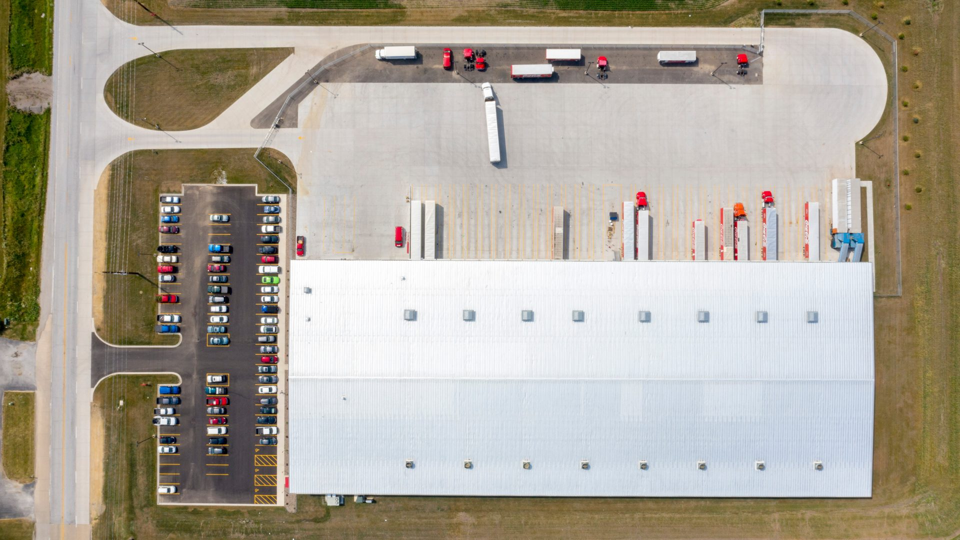 Overhead drone view of the warehouse